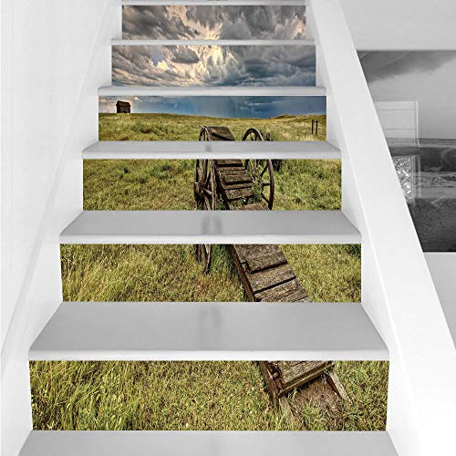 Stair Stickers Wall Stickers,6 PCS Self-adhesive,Barn Wood Wagon Wheel,Old Prairie Cart Agricultural Field Ranch Dramatic Stormy Sky,Green Brown Grey,Stair Riser Decal for Living Room, Hall, Kids Room for $<!--$26.66-->