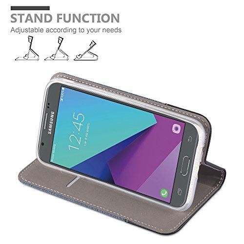 Cadorabo - Funda Estilo Book para >                                      Samsung Galaxy J5 (7) - Modelo 2017                                      < (Solo para la versión americana) de Diseño Tela / Cuero Arificial con Tarjetero, Función de Soporte y Cierre Magnético Invisib AZUL-OSCURO-NEGRO