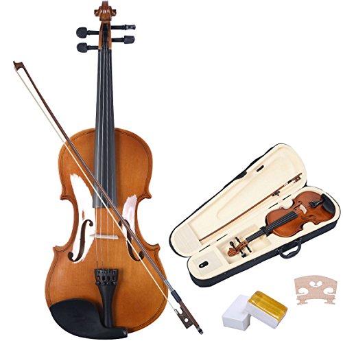 Violinen Geigen Set 4/4 Koffer + Bogen + Zubehör Kolofonium aus Holz für Anfänger Braun