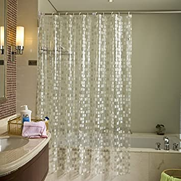 EY PVC Transparent Shower Curtain And Rings 180