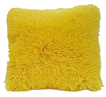 DiamondHome Super Soft Faux Fur Decorative Filled Throw Pillow Cushion (Yellow)