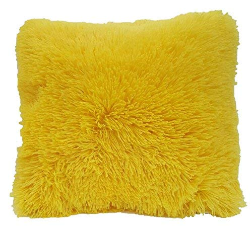 DiamondHome Super Soft Faux Fur Decorative Filled Throw Pillow Cushion (Yellow) (Yellow Large Cushions)