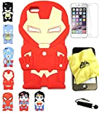 Bukit Cell 3D Superhero Bundle 4 Items: Ironman Cute Justice League Cartoon Soft Silicone Case for 5.5 Inch Iphone 6s Plus / 6 Plus + Cleaning Cloth + Screen Protector + Metallic Stylus Pen