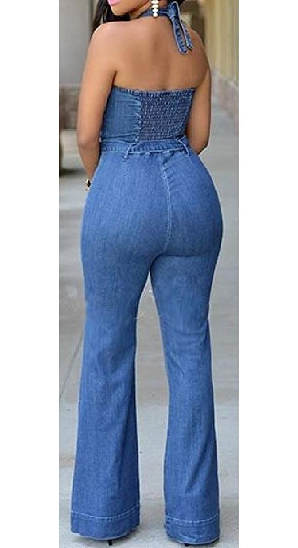 Macondoo Womens Denim Backless Halter Ruched Relaxed Washed Belt Wide Leg Playsuit Jumpsuits