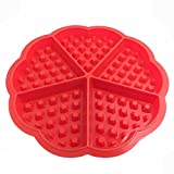 ER Shop Bakeware Silicone Waffle Baking Molds Mini Heart Waffle Mold Muffin Mould Red