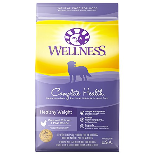 Wellness Complete Health Natural Dry Healthy Weight Dog Food, Chicken & Peas, 5-Pound Bag