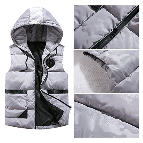 Down Jacket Mens amp; Zipper BOZEVON Outwear Windproof Winter Autumn Waterproof Vest Hooded Down Sleeveless Grey Coat w0HBxxnYCq