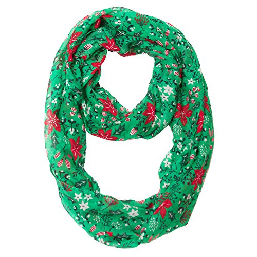 Christmas Decorations Wholesale (MissShorthair Christmas Infinity Scarf Lightweight Loop Holiday Gift Idea (Green))
