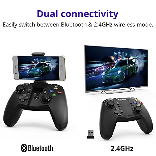 51FmcIgSSCL - Wireless Game Controller, Tronsmart Mars G02 Bluetooth Gamepad & 2.4GHz Modes for Android Smartphone, Windows PC PlayStation 3, Android TV Box