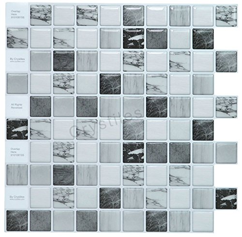 Crystiles Peel and Stick Tile #91010815 Self-Adhesive Vinyl Wall, Small, Black/White Marble