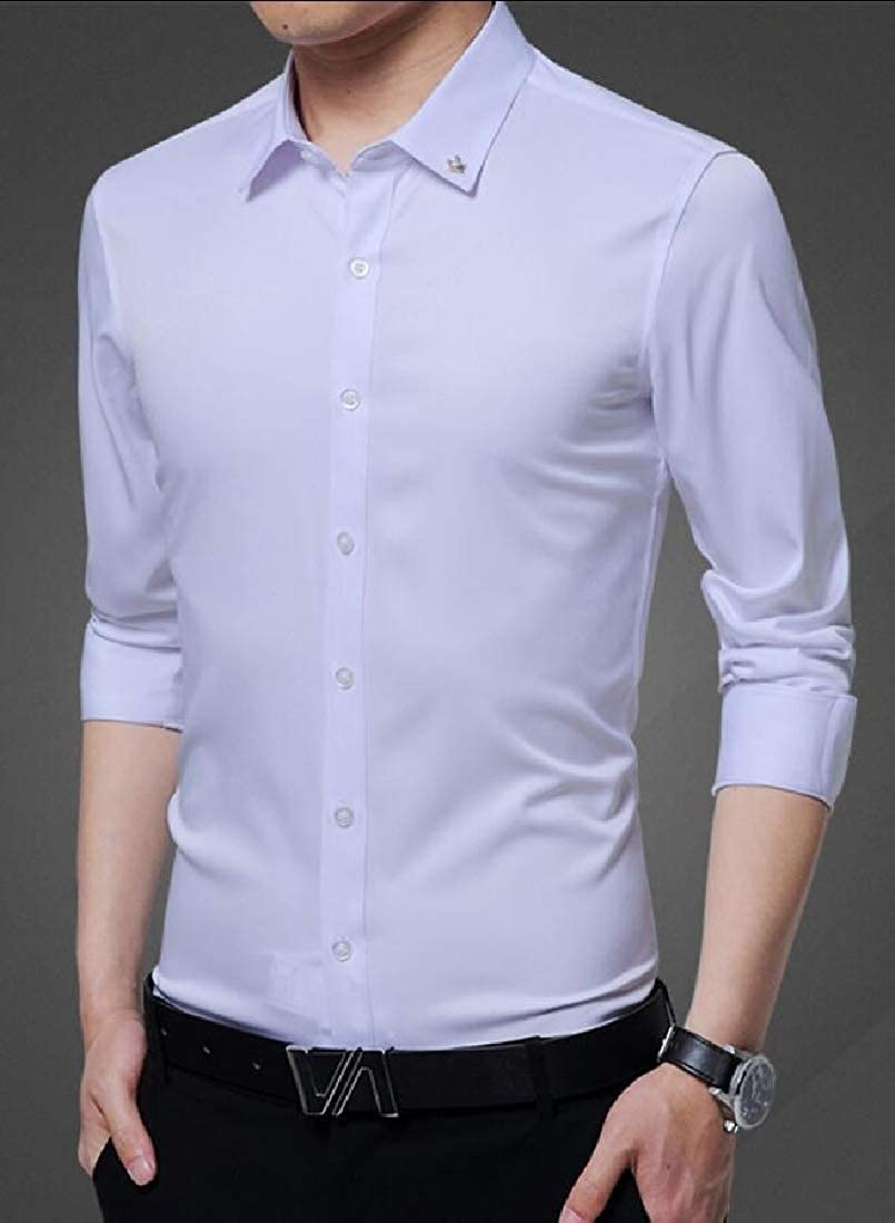 Xswsy XG Mens Leisure Formal Solid Color Long Sleeve Slim Fit Spread Collar Dress Shirts