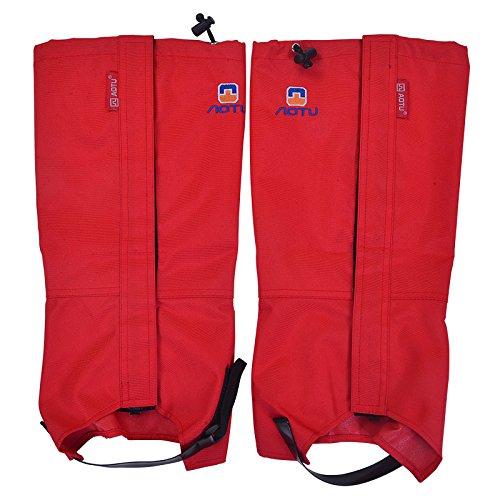 (Campeador 1 Pair Snow Legging Waterproof Gaiters Outdoor Hiking Walking Climbing Hunting Mountain Lightweight Durable Unisex Hiking Gaiters (Red))