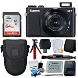Canon PowerShot G9 X Mark II Digital Camera (Black) + SanDisk 64GB Memory Card + Point & Shoot Case + Flexible Tripod + USB Card Reader + Cleaning Kit + LCD Screen Protectors + Deluxe Accessory Bundle