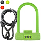 Lumintrail 16mm Heavy Duty 4-Digit Bicycle Bike Combination U-Lock with 4 ft Cable – Assorted Colors (Green) Review