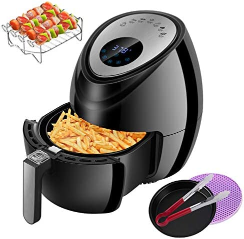 Air Fryer 3.8QT Digital Oilless Cooker, 1500W Electric Hot Air Cooker Oven 7in1 Presets for Healthy Cooking with LCD Touch Screen, Nonstick Basket and Recipes 3.8Qt