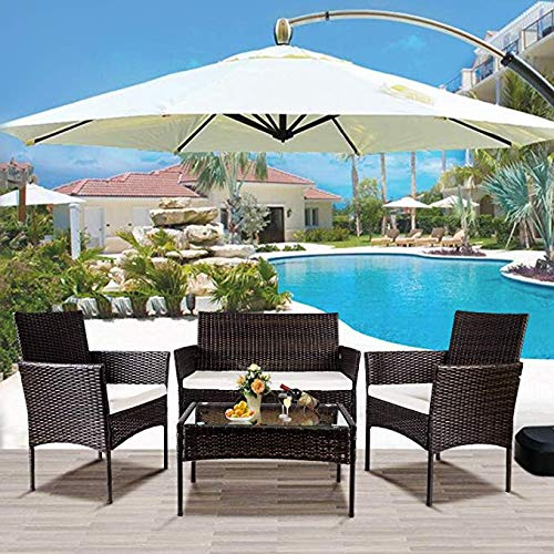 Mbro.us Patio Furniture Set, 4 PCS Rattan Wicker Sofas, Wicker Chairs, Wicker Coffee Table Conversation Set with Cushioned Seats for Garden, Yard, Backyard Pool, Lawn