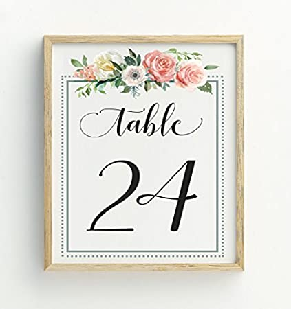 Amazon darling souvenir calligraphy 1 30 floral table numbers darling souvenir calligraphy 1 30 floral table numbers wedding reception dcor table cards 4x6 junglespirit Gallery
