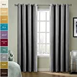 IYUEGO Gromment Top Solid Thermal Insulated Lined Blackout Curtain Patio Door Curtain Panel Drape For Traverse Rod and Track, Grey 52W x 63L Inch (set of 1 Panel) Review