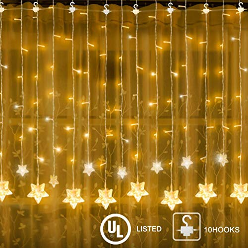 YINUO LIGHT Indoor String Lights 100 LED Star Window Curtain Fairy Light for Wedding Party Home Garden Bedroom Outdoor Indoor Wall Decorations, Warm White (Low Voltage Safety)