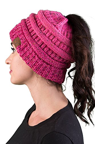 Funky Junque BT-6800-3324 Ribbed BeanieTail - Confetti Bubble Gum Pink (Knit Tweed)