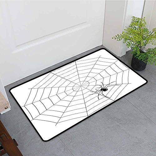 ONECUTE Indoor Doormat,Spider Web Toxic Poisonous Insect Thread Crawly Malicious Bug Halloween Character Design,Bathroom mat,24