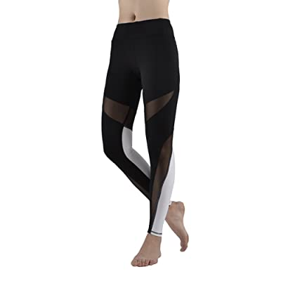 ee09976ffd8af Women's Stretchy Skinny Sheer Mesh Insert Workout Leggings Yoga Tights Pants