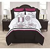 8 Piece California King Light Pink Camo Comforter Set, Fancy Luxury Bedding, French Country Style, Modern Pattern for Master Bedrooms, Flower Embroidery, Vibrant black, pink and white