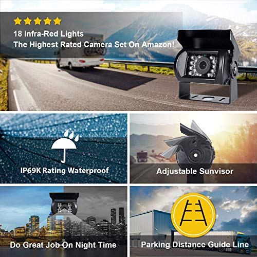Backup Camera and Car 7 Inch Monitor Screen Waterproof Rear View Rearview Backing Parking Reversing Reverse Camera for Truck/Trailer/Pickups/RV When Reversing Parking to Avoid Blind Area eRapta ER01