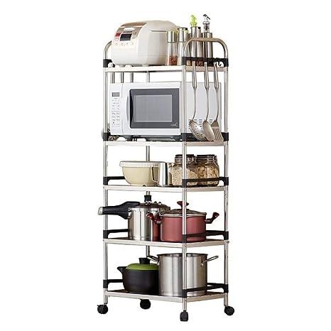 HUYYA Estar estantería metálica Cocina, Carrito Cocina con Ruedas Ruedas Acero Inoxidable microondas Estantes baldas