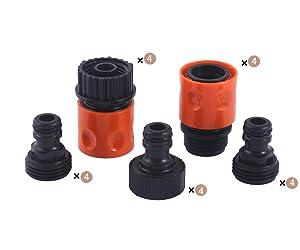 HQMPC Plastic Garden Hose Connector 4SETS(20PCS CONNECTORS)