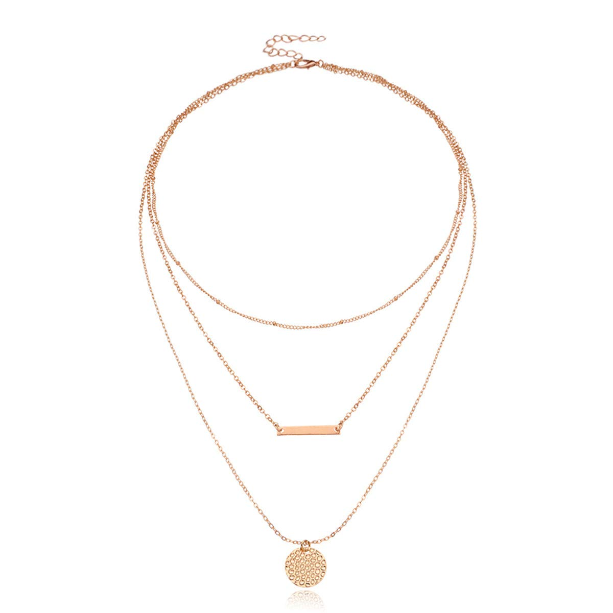 Beiswe Delicate Layered Choker Necklace for Teen Girls Women Y Pendant Necklace Bohemian Multilayer Bar Disc Necklace Gifts (Gold)