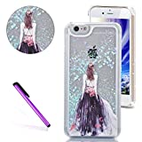 """iPhone 6 Case iPhone 6S Case EMAXELER 3D Liquid Brilliant Luxury Bling Glitter Liquid Floating Lovely Cute Glitter Star Moving Hard Protective Case for iPhone 6s/6 4.7"""" Blue Star Purple Dress"""