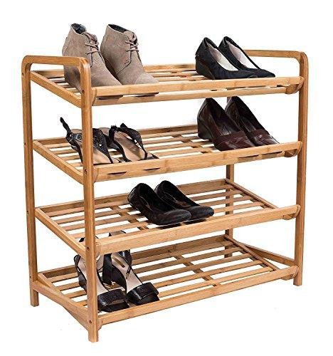 (BirdRock Home 4 Tier Bamboo Shoe Rack | Home Storage Organization | Natural Durable Environmentally Friendly Organizer | Fits 9-12 Shoes)