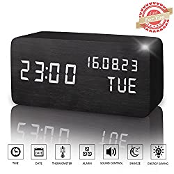 Wooden LED Digital Alarm Clock, Displays Time Date Week And Temperature, Cube Wood-shaped Sound Control Desk Alarm Clock for Kid, Home, Office, Daily Life, Heavy Sleepers (Black)