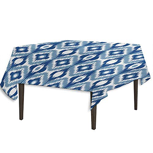 (Ikat Printed Tablecloth Ethnic Ikat Design with Regular Multi-Shaft Loom Uneven Twill Trend Motif Outdoor and Indoor use W36.2 x L36.4 Inch Dark Blue and White)