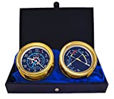 Windlass Gift Set Time & Tide Clock & Comfort Meter by Master-Mariner, Gold finish, Blue flag dial