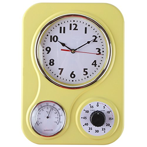 (Lily's Home Retro Kitchen Wall Clock, with a Thermometer and 60-Minute Timer, Ideal for any Kitchen, Yellow (9.5 in x 13.3 in))