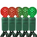 Red to Green Color Changing - 35 LED Bulbs - G12 Shape - Length 12 ft. - Bulb Spacing 4 in. - Green Wire - Faceted Berry Christmas Light String - Brite Star 3713800