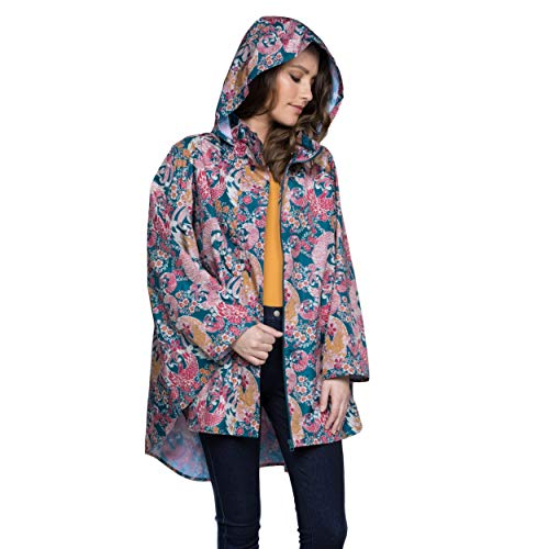 - November Rain Waterproof Poncho - Rain Jacket with Hood (Oriental Bird)