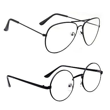 bc3c130f70 2pcs Unisex Retro Round Glasses Aviator Eyeglasses Metal Frame Clear lens  Vintage Geek Sunglasses Black  Amazon.co.uk  Clothing