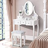 white makeup vanity table with drawers Mecor Vanity Table Set with Oval Mirror/5 Drawers,Wood Makeup Dressing Table Bedroom and Cushioned Stool,White