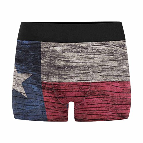 INTERESTPRINT Boxer Briefs Men's Underwear,Retro Vintage Texas Flag Pattern on Wooden Board M (Texas Mens Underwear)