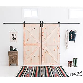 13foot heavy duty double sliding barn door hardware kit black includes easy