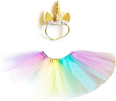 Bebé Niñas 1st Primer Cumpleaños Arco Iris Falda Tutú Conjunto Pastel Smash Unicornio 12-18