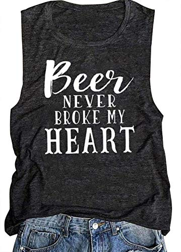 Beer Never Broke My Heart Funny Tank Tops for Women Country Music Party Vintage Muscle T Shirt Drinks Tee Shirt Vest (Large, Dark Grey) (Best Friend Broke My Heart)