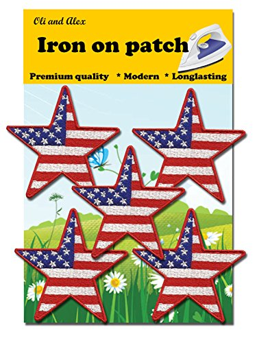 Iron On Patches - Star USA Patches 5 pcs American Flag Applique Embroidered Sew Iron on Patch ()