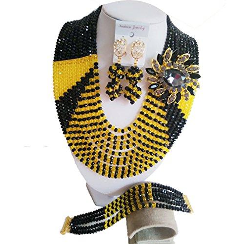 laanc 10filas joyas negro y amarillo africano joyas collar pendientes pulsera boda fiesta joyería Set