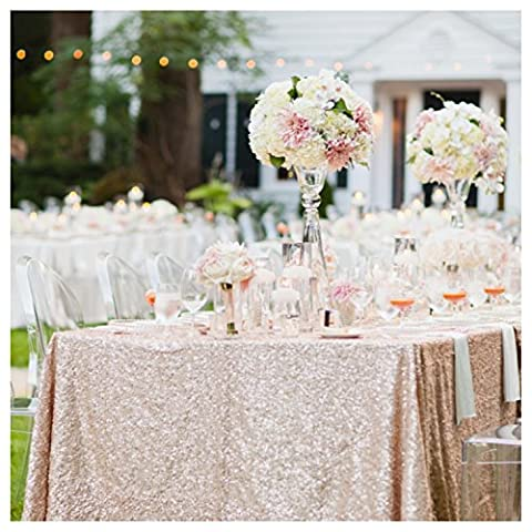 ShinyBeauty Sequin Tablecloths Rectangle Blush Champagne-8Ft 90