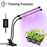LED Grow Light, Dual-lamp Plant Growing Light 36LED Timing Function(3H/6H/12H) Dimmable 5 Levels Grow Lamp with Adjustable 360 Degree for Indoor Plants Seed Starting Succulents Greenhouse