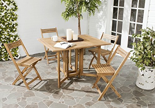 Safavieh Outdoor Living Collection Arvin 5-Piece Dining Set, Teak (Collection Patio Dining Set)